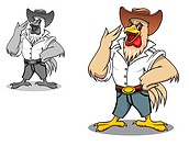 Power rooster in cartoon style for agriculture design