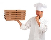 thinking cook with boxes of pizza