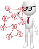 Intelligent manager drawing diagram of business social network human resources people plan