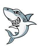 Cartoon smiling shark for mascot and emblem design