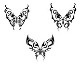 Isolated tattoos of butterfly on white background