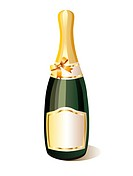Vector bottle of champagne and gold ribbon