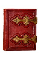 Front cover of old dark red antique book, with golden clasps