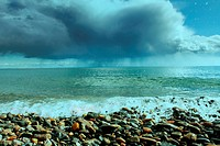 rainy clouds under the Baikal lake