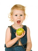 small girl with apple