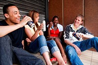 Group of teenagers drinking