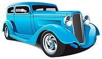 vectorial image of light blue hot rod, isolated on white background. File contains grdients, blends and mesh. No strokes