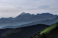 Mountain ranges at sunrise seen from the Col d'Aubisque in the Pyrenees, France