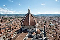 Elevated view of the Basilica of Santa Croce in Florence, Italy