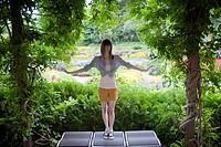 Portrait of a 17_year_old girl at the Sunken Gardens in Lincoln, NE.