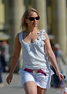 Young woman out shopping, Koenigsstrasse street, Stuttgart, Baden-Wuerttemberg, Germany, Europe, PublicGround