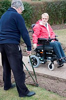 Husband and wife in adapted home gardening