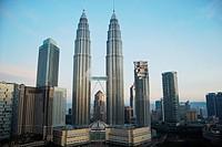 View of the Petronas Towers in Kuala Lumpur Malaysia