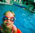 Girl in swim goggles