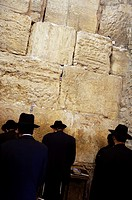 Orthodox Jews praying by the Wailing Wall ´Western Wall´ , Jerusalem  Israel.
