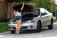 Attractive Girl with Disabled Car 7