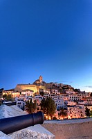 Spain, Balearic Islands, Ibiza, view of Ibiza old town UNESCO site, and Dalt Vila