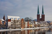cathedral, old town, Obertrave, winter, Luebeck, Schleswig_Holstein, Germany