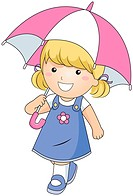 A Young Girl Using an Umbrella for Protection