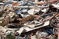 Pile of scrap metal in junkyard, full frame