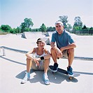 Senior couple at skateboard park