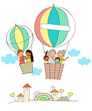 Portrait Of Multicultural Family In Hot Air Balloon