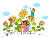 Portrait Of Multicultural Family Near The Sunflower Plant