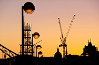 UK, England, London, St Pauls cranes silhouette