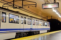 Departing train from Gallao metro station, Madrid, Spain, Southern Europe