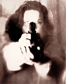 Woman Pointing Handgun