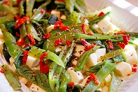 Green and Red Chili Pepper & cheese salad
