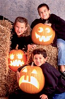 Boys with Halloween Jack_O_Lanterns