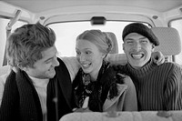 Friends Laughing in Automobile