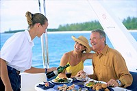 Couple Having Lunch on Boat