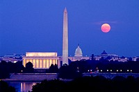 Moonrise over Lincoln Memorial, Washington Monument, Capitol, Washington, DC, at dusk