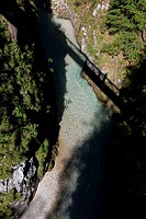 Aeriel view from a bridge down into tjhe Leutasch Gorge, Mittenwald, Bavaria, Germany