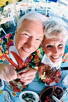 Couple eating lobster