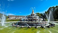Fountain, Herrenchiemsee Palace, Chiemsee, Chiemgau, Upper Bavaria, Germany