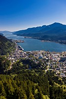 Aerial view of downtown Juneau and Lynn canal looking South over the Gold Creek Valley, Southeast Alaska, Summer