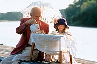 Tea party with granddaughter