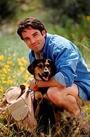 Hiker with his loyal dog