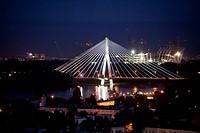 Nachtaufnahme , Weichselbrücke, Warschau, Polen