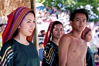 Filipinas wearing Baroo at saya traditional dress at the Battle of Mactan reenactment or Kadaugan Festival  The Battle of Mactan was fought in the Phi...