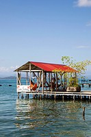 Wooden dock in the Afro-Caribbean town of Old Bank on Isla Bastimentos, Bocas del Toro, Panama