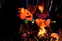 Bear startling couple at campfire