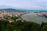Panoramic city view from Gellért Hill with Buda Castle on the left, Budapest, Hungary