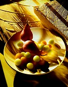 Pears and Melon Balls on White Plate