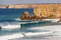 Portugal, Algarve, Sagres, View of Atlantic ocean with breaking waves and cliff