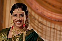 Portrait of young Maharashtrian bride smiling