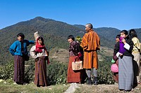 Local bhutanese people from a village on Thimphu-Punakha road, Bhutan, Asia.